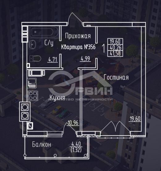 1-комнатная квартира Космонавта Леонова, Улица, 55, Калининград