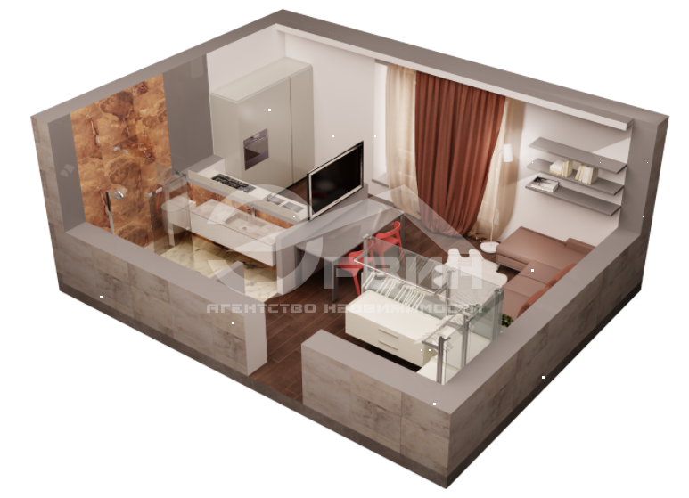 1-комнатная квартира Марата, Улица, 1, Калининград