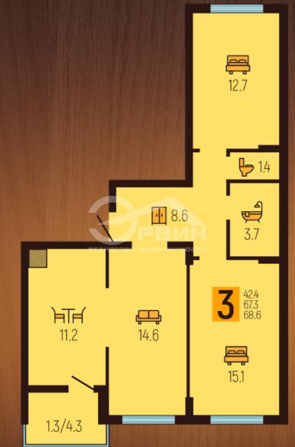 3-комнатная квартира Л.Шевцовой, Бульвар, 51, Калининград